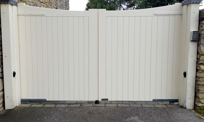 cream painted timber gates