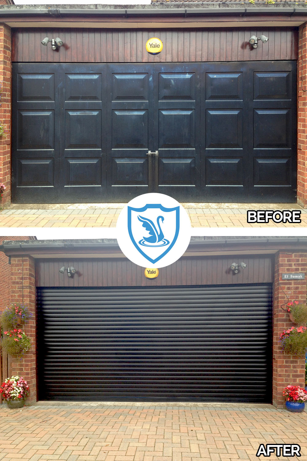 Before and after black roller garage door