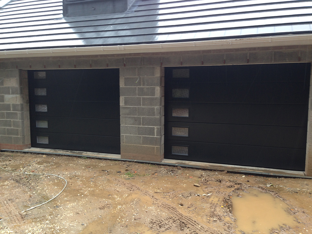 Anthracite Sectional Garage Doors With Frosted Windows