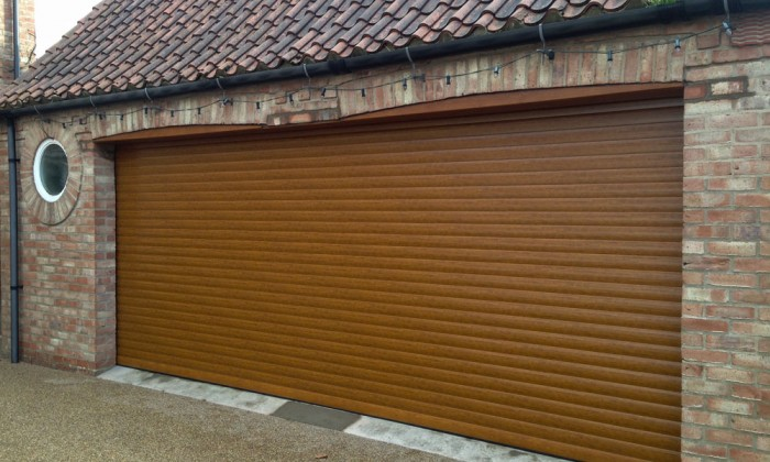double golden oak roller door