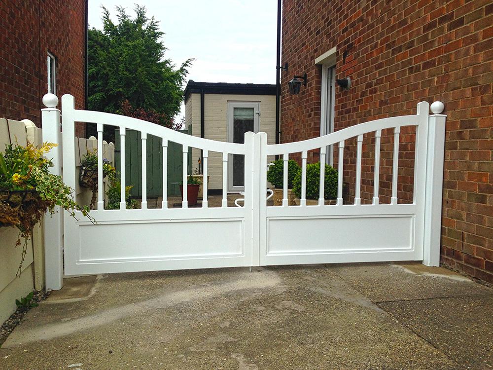 steel gates designed like timber gates wood gates