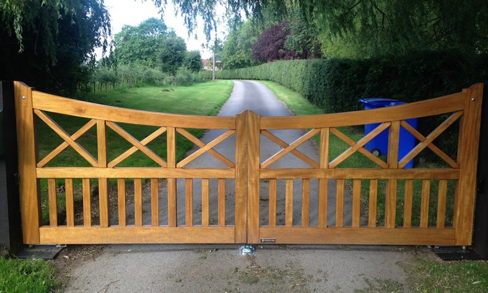 cross brace timber gate in hull